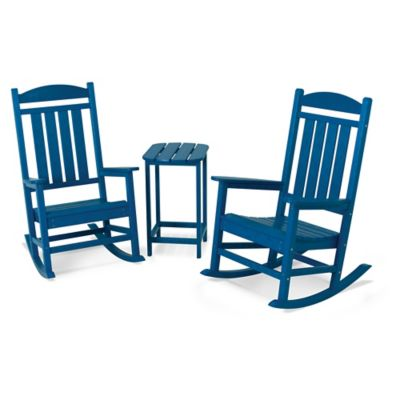 POLYWOOD® Presidential 3 Piece Rocker Set With Square Table In Pacific Blue