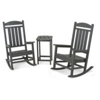 POLYWOOD® Presidential 3-Piece Rocker Set with Square Table in Slate Grey