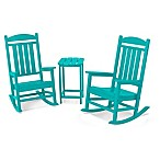 POLYWOOD® Presidential 3-Piece Rocker Set with Square Table in Aruba