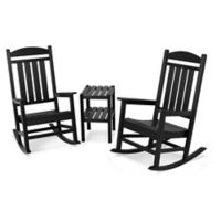 POLYWOOD® Presidential 3-Piece Rocker Set with Square Table in Black