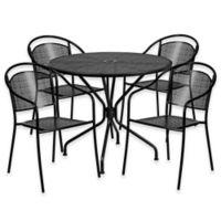 Flash Furniture 5-Piece Steel Indoor/Outdoor 35.25-Inch Round/Round-Back Dining Set in Black