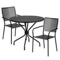 Flash Furniture 3-Piece Steel Indoor/Outdoor 35.25-Inch Round/Square-Back Dining Set in Black