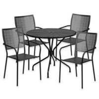 Flash Furniture 5-Piece Steel Indoor/Outdoor 35.25-Inch Round/Square-Back Dining Set in Black