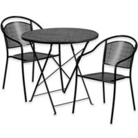 Flash Furniture 3-Piece Outdoor Patio Furniture Set with Round Back Chairs in Black