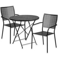 Flash Furniture 3-Piece Outdoor Patio Furniture Set with Square Back Chairs in Black