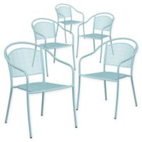 Flash Furniture Outdoor Patio Rounded Back Armchairs in Sky Blue (Set of 5)