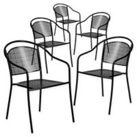 Flash Furniture Outdoor Patio Rounded Back Armchairs in Black (Set of 5)
