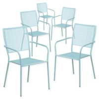 Flash Furniture Steel Indoor/Outdoor Square-Back Dining Arm Chairs in Sky Blue (Set of 5)