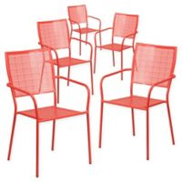 Flash Furniture Steel Indoor/Outdoor Square-Back Dining Arm Chairs in Coral (Set of 5)