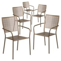 Flash Furniture Steel Indoor/Outdoor Square-Back Dining Arm Chairs in Gold (Set of 5)