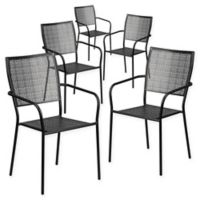 Flash Furniture Steel Indoor/Outdoor Square-Back Dining Arm Chairs in Black (Set of 5)