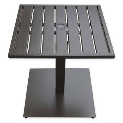 Merveilleux Never Rust Aluminum Outdoor Slat Top Umbrella Base Table In Bronze
