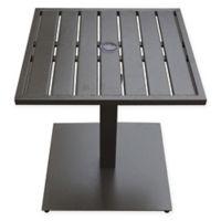 Never Rust Aluminum Outdoor Slat-Top Table with Umbrella Hole in Bronze