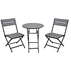Metro 3-Piece Folding Resin Wood Outdoor Bistro Set in Grey/Black