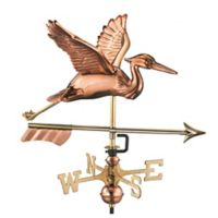 Good Directions Great Blue Heron with Arrow Garden Weathervane in Copper