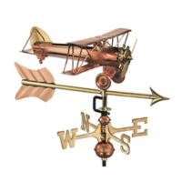 Good Directions Biplane with Arrow Garden Weathervane in Copper