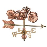 Good Directions Motorcycle with Arrow Garden Weathervane in Copper