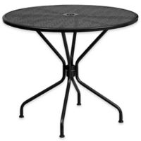Flash Furniture Steel Indoor/Outdoor 35.25-Inch Round Dining Table in Black