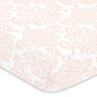 Sweet Jojo Designs Amelia Damask Fitted Crib Sheet in Pink/White