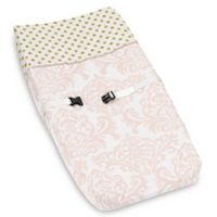 Sweet Jojo Designs Amelia Changing Pad Cover in Pink/White