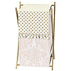 Sweet Jojo Designs Amelia Laundry Hamper in Pink/Gold