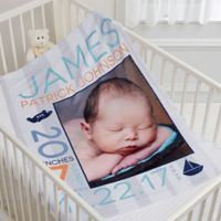 Sweet Baby Boy Fleece Photo Blanket