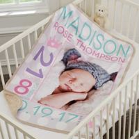 Sweet Baby Girl Premium Sherpa Photo Blanket