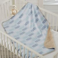 Modern Boy Name Sherpa Baby Blanket