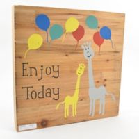 "Concepts In Time ""Enjoy Today"" 12-Inch Square Wood Block Wall Art"