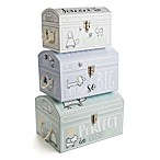 Tri-Coastal Design 3-Piece Doodle Baby Nested Dome Trunk Set in White