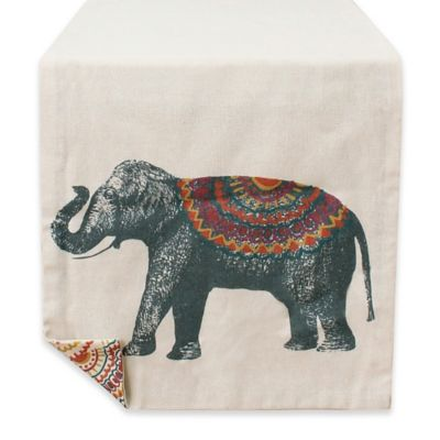 Ezzie Geometric Elephant 72 Inch Table Runner In Natural
