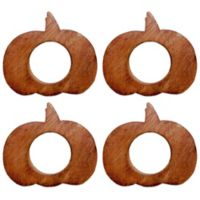 Bardwil Linens Pumpkin Wood Napkin Rings (Set of 4)