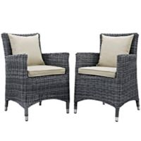 Modway Summon Patio Arm Chair Set in Antique Beige (Set of 2)