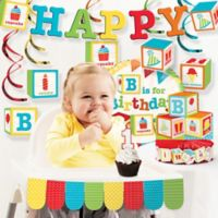 Creative Converting ABC Blocks 1st Birthday Party 10-Piece Decorations Kit