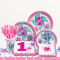 Creative Converting™ 81-Piece Turning One Girl's 1st Birthday Party Tableware Kit