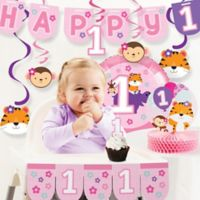 "Creative Converting™ 10-Piece ""One is Fun!"" Girl 1st Birthday Decor Kit"
