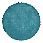 Destination Summer Lindos Round Placemat with Beaded Trim in Teal