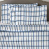 Pointehaven 170 GSM Plaid Twin Sheet Set in Blue