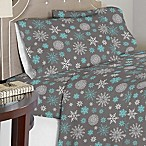 Celeste Home 190 GSM Snowflakes King Sheet Set in Grey