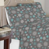 Celeste Home 190 GSM Snowflakes Twin Sheet Set in Grey