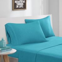 Intelligent Design Cotton Blend Jersey Knit Full Sheet Set in Teal