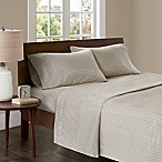 Madison Park 3M Microcell Printed King Sheet Set in Tan