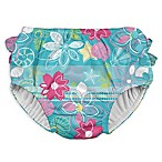 I Play. ® Size 6M Shell and Flower Ruffle Snap Swim Diaper in Aqua