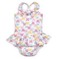 i play.® Size 6M 1-Piece Butterfly Trellis Ruffle Swimsuit with Built-In Swim Diaper in White