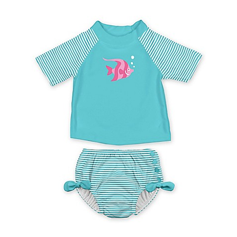 I Play 174 2 Piece Fish Rash Guard With Swim Diaper Set In
