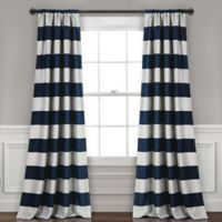 Lush Décor Stripe Rod Pocket Room Darkening Window Curtain Panel Pair