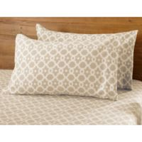 Great Bay Home Dara Arbour Fleece Queen Sheet Set in Taupe