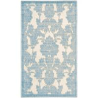 Nourison Gil Damask 2-Foot 3-Inch x 3-Foot 9-Inch Accent Rug in Ivory/Light Blue