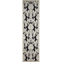 Nourison Gil Damask 2-Foot 3-Inch x 8-Foot Runner in Black
