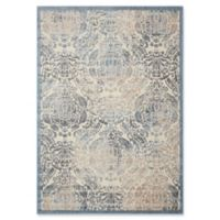 Nourison Graphic Illusions Damask 3-Foot 6-Inch x 5-Foot 6-Inch Area Rug in Sky